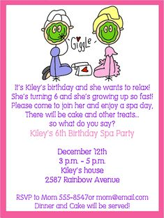 Girls Spa Party Invitation Wording | party invitations this ...