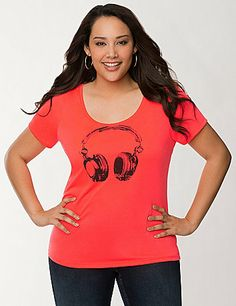 """Our soft graphic tee reminds you to """"Dance to your own beat"""" with a small back message and quirky head phones print. #LaneBryant"""