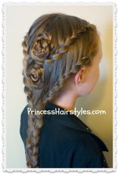 Lace Braid Rose Hairstyle For Long Hair - Princess Hairstyles | Braids and Hair Style tutorials