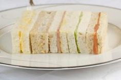 Dainty finger sandwiches are a fixture of afternoon tea. The Hotel Windsor's Joel Alderson shares a recipe, and his tips for making perfectly uniform, fluffy and light ribbon sandwiches. High Tea Sandwiches, Finger Sandwiches, Tea Recipes, Cooking Recipes, Party Recipes, Nibbles For Party, Vintage Tea Parties, Sandwich Fillings, Good Food