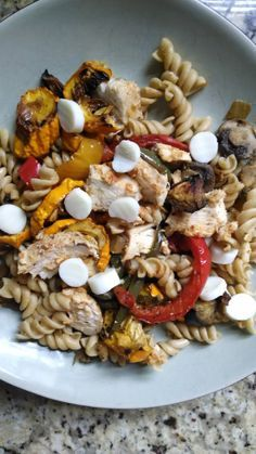 21 Day Fix - Roasted Vegetable Pasta with Chicken and Mozzarella (1 yellow, 1 green, 1 blue, 1 red)