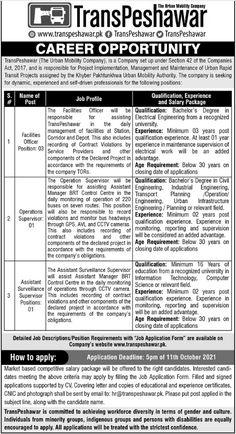 Trans Peshawar Urban Mobile Company Jobs 2021