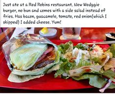 Eating out low carb at Red Robin Healthy Fast Food Options, Keto Fast Food, Fast Healthy Meals, Fast Foods, Keto Foods, Low Carb Keto, Low Carb Recipes, Diet Recipes, Healthy Recipes