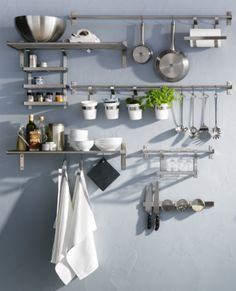 GRUNDTAL series offers space saving stainless steel organization in so many ways.