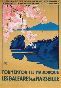 """PLM et Cie Navigation Mixte (Touache) - Les Baléares par Marseille - illustration de Charles Hallo dit """"alo"""""""