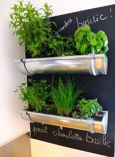 Esta horta vertical foi feita com calhas e braçadeiras. A pintura especial ao fundo na parede permite identificar cada uma das hortaliças.