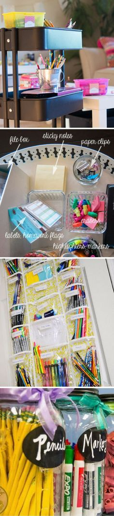 Just a few of our favorite ideas for how to organize school supplies. Click the pin to see more and get free printable school supply labels. We're also sharing tips for saving money on school supplies! School Supply Labels, School Supplies Organization, Organization Hacks, Organizing Ideas, Delete Pin, Back To School Hacks, Note Paper, Sticky Notes, Money Saving Tips