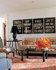 Vintage subway signs and bus scrolls on etsy.  Remind me of my living room with the nice touch of black and white.  #http://www.etsy.com/shop/FlyingJunction?page=2
