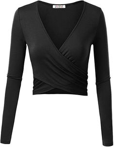 4281e78f15089 KIRA Women s Deep V Neck Long Sleeve Unique Cross Wrap Slim Fit Crop Tops  Small Black at Amazon Women s Clothing store
