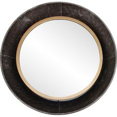 A sleek round wall mirror with a gray metal frame and a thin band of gold. Wall Mounted Mirror, Round Wall Mirror, Round Mirrors, Mirror Mirror, Contemporary Wall Mirrors, Rustic Contemporary, Modern Mirrors, Colored Dining Chairs, Beautiful Mirrors