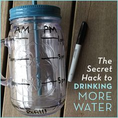 A water bottle with a permanent marker that marked the levels for drinking more water.