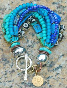 Turquoise, Aqua, Blue, Purple, Tibetan Agate and Silver Multi-Strand Island-Inspired Bracelet $195