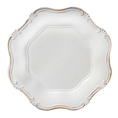 """The Jay Companies 13"""" Round White Baroque Polypropylene Charger Plate"""