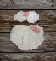 Baby bloomer set. Newborn lace ruffle diaper cover. Baby diaper cover. Shower gift. Baby girl gift set. First baby picture outfit. by KadeesKloset on Etsy https://www.etsy.com/listing/206808621/baby-bloomer-set-newborn-lace-ruffle