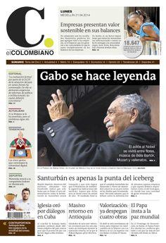 Portada de El Colombiano para el lunes 21 de abril de 2014