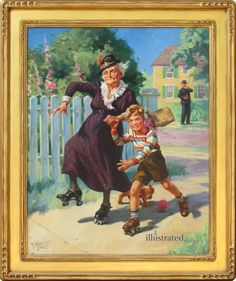For Sale on - Skating with Granny, Canvas, Oil Paint by Henry Hintermeister. Offered by The Illustrated Gallery. Watercolor Canvas, Oil On Canvas, Figure Painting, Paintings For Sale, Skating, Home Art, Wall Art, Gallery, Artist