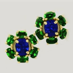 Tanzanite & Tsavorite Stud Earrings. A wonderful bright pair of earrings with a vintage feel. Gorgeous cornflower blue Tanzanites with a fabulous cornflower blue color snuggled among a ring of vivid green oval Tsavorites. The combination is magnificent!