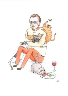 Horror Icons Playing With Kitties - Fan Art - Media Chomp Horror Villains, Horror Movie Characters, Horror Movies, Hannibal Lecter, Imprimibles Halloween, The Awkward Yeti, Tribute, Horror Icons, Arte Horror