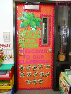 This is the door into my classroom/out to the hallway.  Students' names are on the monkeys at the bottom of the door.