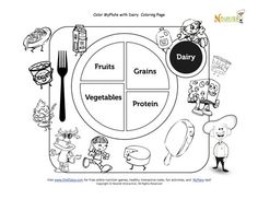 Printable MyPlate Vegetables Coloring Sheet Teaching Kids about