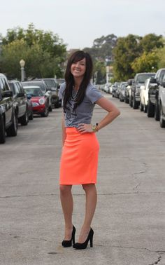 Bright colored pencil skirts...Mix them with casual top for perfect outfit!