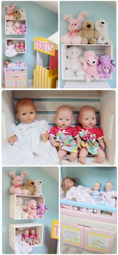 The Busy Budgeting Mama: Our Playroom Reveal - DIY Details & Storage Solutions!  I think this is a good way to store babies