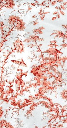 Pillement silk toile, coral