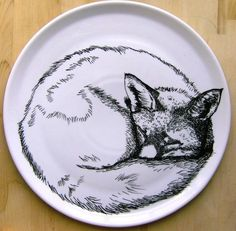 Shoply.com -Plate - Hand Drawn Serving Plate - Sleeping Fox. Only £76.90