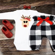 Girls Christmas Outfit | Reindeer Christmas Top with Buffalo Plaid High Waisted Pants | Complete Baby or Toddler Christmas Set