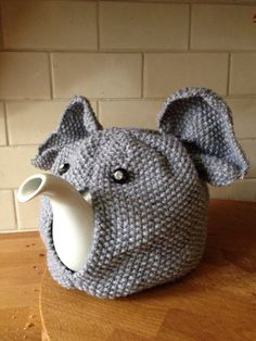 Hand Knitted Elephant Tea Cosy by Pumpkinchickpea on Etsy, $30.00