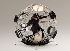 For its project AH A MAY, Yamaha swapped designers from its motorcycle and its musical instruments divisions, and one of the results was Raijin, a crazy drum kit which completely envelops its player inside a sphere of drums.