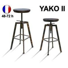 Tabouret de Bar Réglable YAKO 2 Design Luxe Loft Vintage Industriel Noir et Or Brossé Métal & Bois