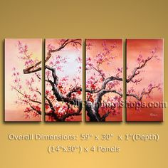 Tetraptych Contemporary Wall Art Landscape Painting Tree Gallery Wrapped. In Stock $158 from OilPaintingShops.com @Bo Yi Gallery/ ops2826