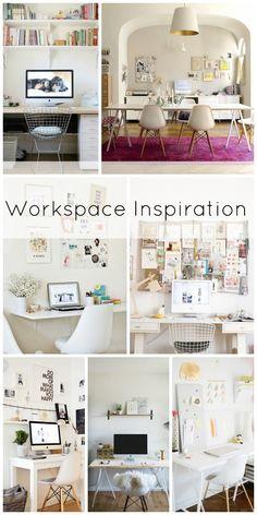 Workspace / Desk / Office Inspiration: white, neutral, wood, gold, pink, clean, minimal, organized