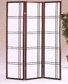 3 panel room divider shoji screen modern double cross design ( 4 & 5 Panel Available )