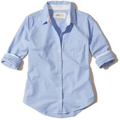 Hollister Oxford Pocket Shirt ($40) ❤ liked on Polyvore featuring tops, light blue, slim fit oxford shirt, stretch cotton shirt, slim fit shirts, blue oxford and light blue oxford shirt
