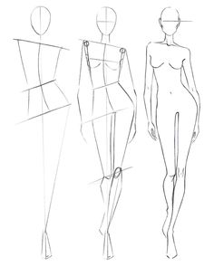 zeichnen Step by step figure drawing Fashion Figure Drawing, Fashion Model Drawing, Fashion Drawing Dresses, Fashion Design Drawings, Fashion Sketches, Fashion Illustration Poses, Fashion Illustration Tutorial, Fashion Sketchbook, Illustration Techniques