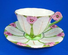 RARE Painted Pink Flower Handle Textured Atlas China Tea Cup and Saucer Set | eBay