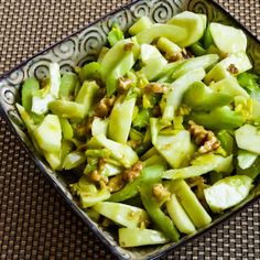 Love this Green Apple, Celery, and Walnut Salad with Lemon-Mustard Vinaigrette; perfect for any kind of special meal. [from KalynsKitchen.com] #HealthySalad