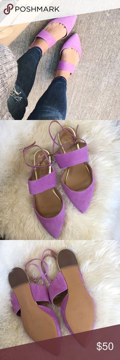Banana Republic lilac suede flats. Banana Republic lilac suede flats in excellent condition. Worn only one time. No flaws. True to size. Ankle wrap buckle. Gold accent trim along heel. No trades or Paypal Banana Republic Shoes Flats & Loafers