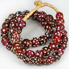 Antique Red Venetian Eye Bead Strand