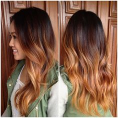 Brunette to caramel Ombre over long curly layers. #StyledByKate 916-444-2136 Instagram: @StyledByKate_