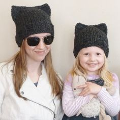 Mommy and Me Matching Hand Knit Cat Ear Hat by BoPeepsBonnets, $56.00