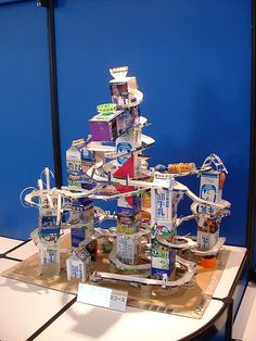Milk Carton Marble Run by laurence, via Flickr