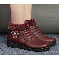 Women's+Shoes+PU+Fall+Winter+Comfort+Boots+For+Casual+Burgundy+Brown+Black+–+USD+$+26.98