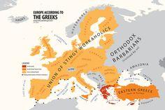 "atlasofprejudice: ""Europe According to Greece from Atlas of Prejudice: The Complete Stereotype Map Collection by Yanko Tsvetkov. Hades, Funny Maps, Illustrator, Art Store, Hetalia, Around The Worlds, Diagram, Poster, Random"
