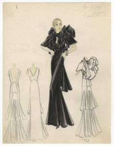 - Costume Institute - Digital Collections from The Metropolitan Museum of Art Libraries 1930s Fashion, Vintage Fashion, Vintage Style, Mourning Dress, Costume Institute, Fashion Drawings, Fashion Illustrations, Print Pictures, Costume Design