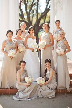 5 trending styles for bridesmaids dresses - I am not on board with the different coloured dresses trend!