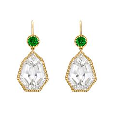 "Verdura ""Byzantine"" white topaz drop earrings with tsavorite garnet"