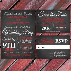 Red and Black  Wedding Invitations, Printable Wedding Invitation Suite, formal wedding Save the Date, RSVP, black and white wedding invites